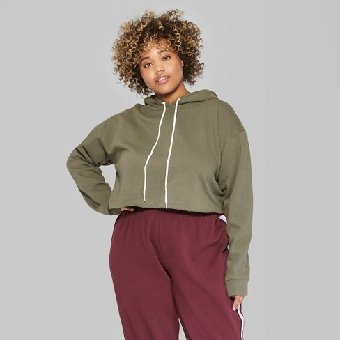 60772c34d8973 Women s Plus Size Long Sleeve Cropped Hoodie - Wild Fable™ Olive 1X   Target