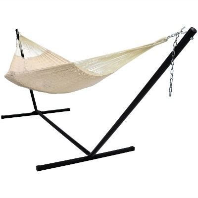 Sunnydaze Hand-Woven XXL Thick Cord Family Size Portable Mayan Hammock with Steel Stand -  400 lb Weight Capacity/15' Stand - Natural