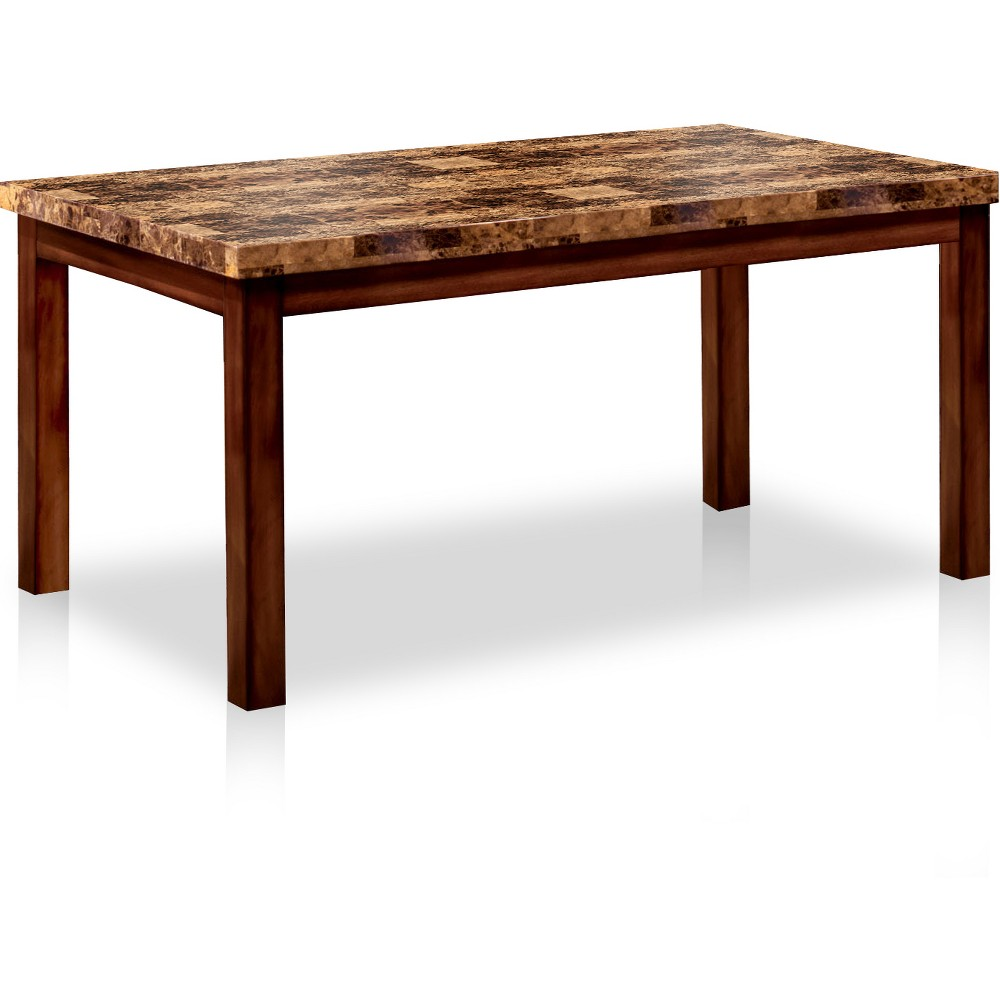60 Roshella Faux Marble Top Dining Table Dark Oak - Sun & Pine