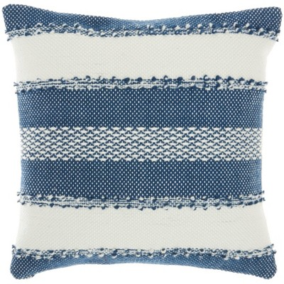 Woven Striped and Dots Outdoors Throw Pillow - Mina Victory