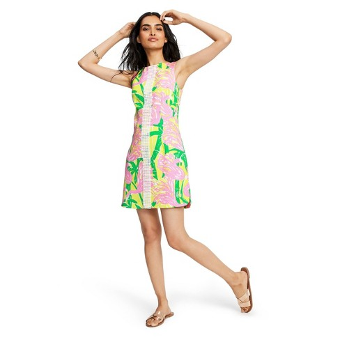 Women's Fan Dance Sleeveless Round Neck Shift Mini Dress - Lilly Pulitzer for Target Pink/Yellow 6 - image 1 of 4