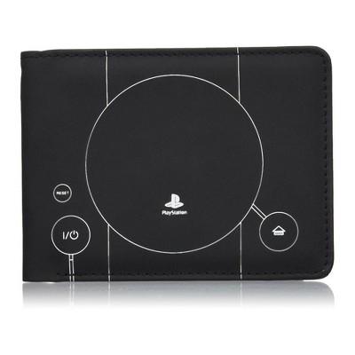 Rubber Road PlayStation PS1 Console Men's Bi-Fold Wallet Black