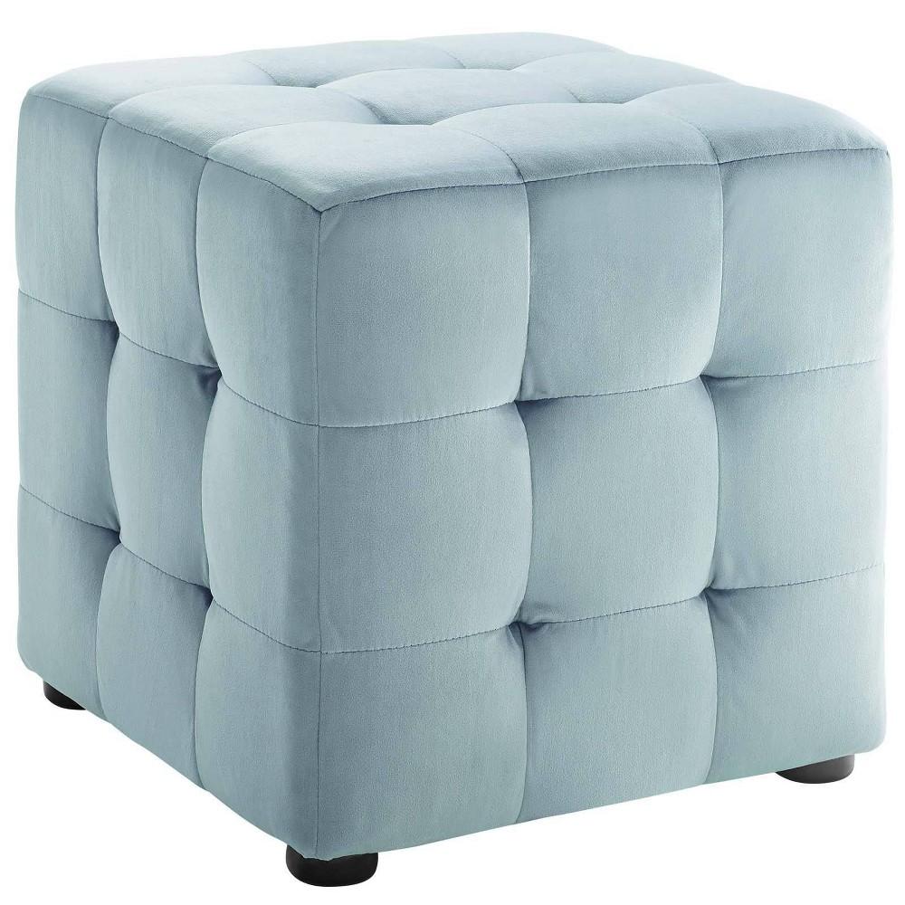Image of Contour Cube Velvet Ottoman Light Blue - Modway