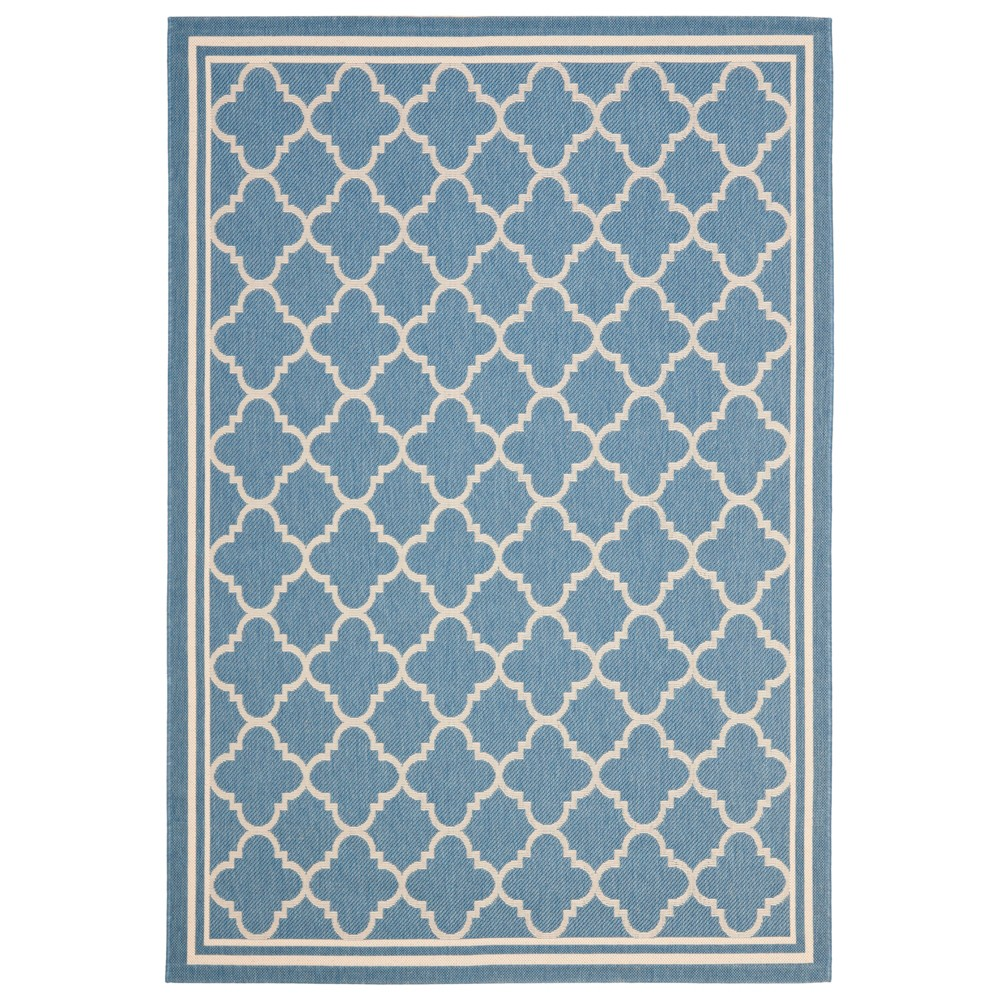 Renee Rectangle 4'X5'7 Outdoor Patio Rug - Blue / Beige - Safavieh