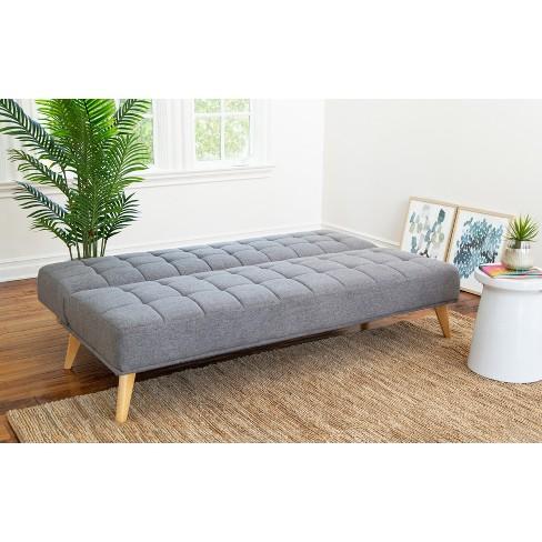 Carlie Mid Century Tufted Fabric Convertible Sofa Futon Gray - Abbyson  Living