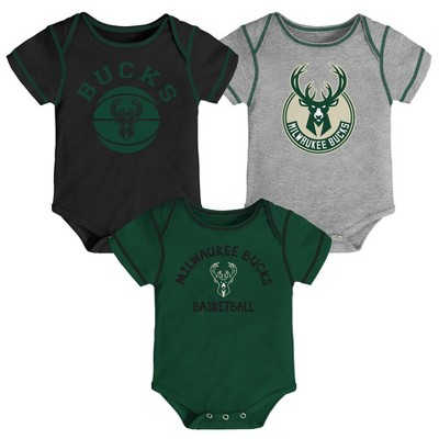 NBA Milwaukee Bucks Baby Boys' Rookie Bodysuit Set 3pk - 0-3M