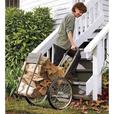 Plow & Hearth - Rolling Wood Caddy, Heavy-Duty Steel with Large Wheels