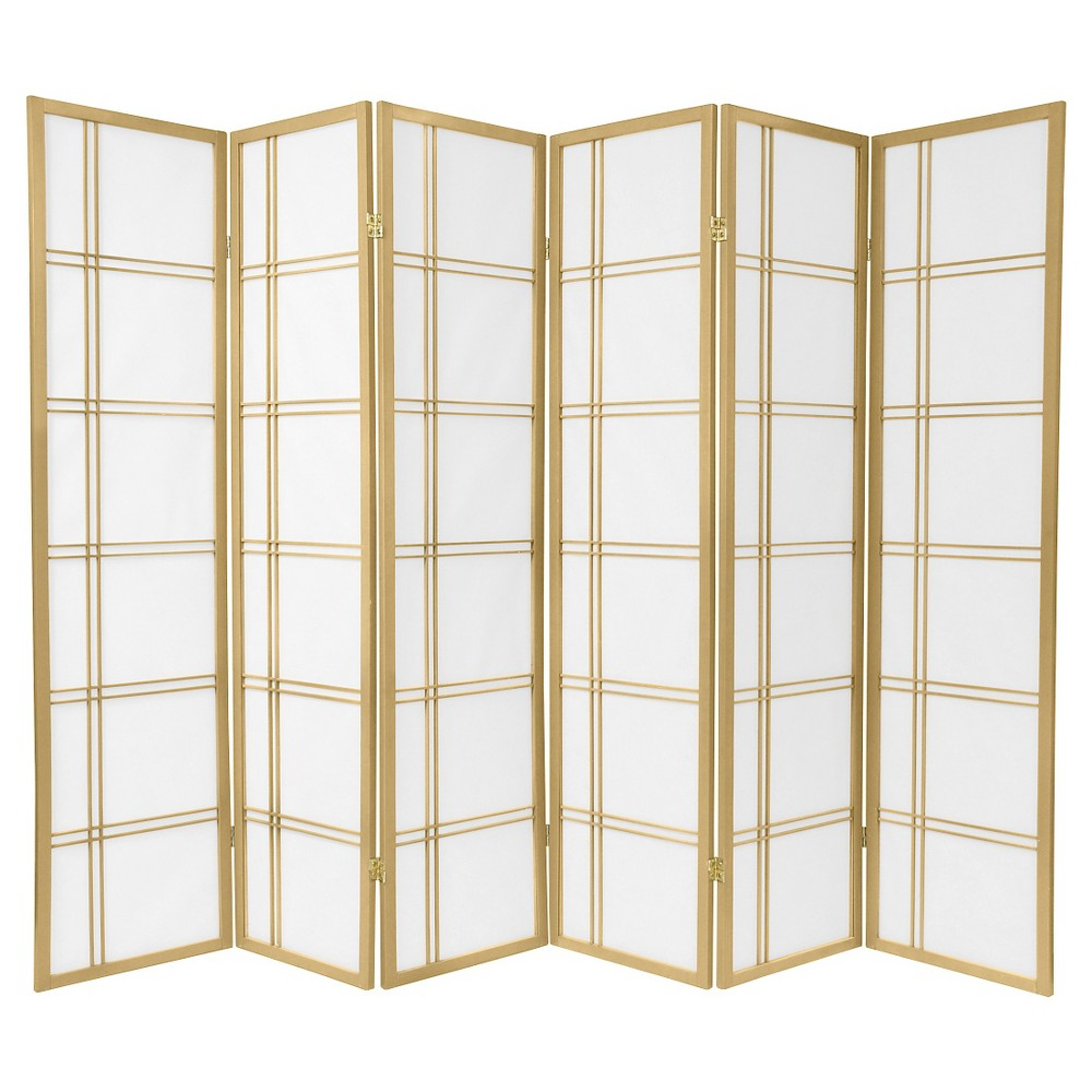 6 ft. Tall Double Cross Shoji Screen - Special Edition - Gold (6 Panels)