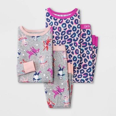 Toddler Girls' 4pc Leopard Tossed Animal Print Snug Fit Pajama Set - Cat & Jack™ Pink
