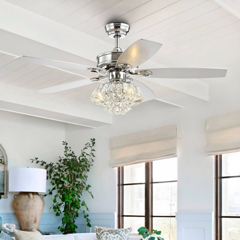 48 Led Glam Crystal Drum Ceiling Fan With Remote Chrome Jonathan Y Target