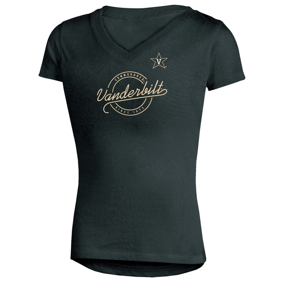 Vanderbilt Commodores Girls Short Sleeve Puff Print V-Neck Tunic T-Shirt M, Multicolored