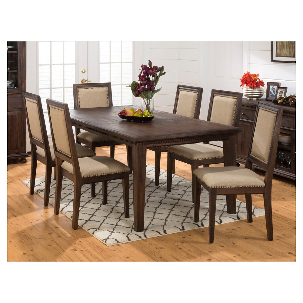 5 Piece Geneva Hills Rectangle Dining Set with Upholstered Side Chairs Wood/Rustic Brown - Jofran Inc.