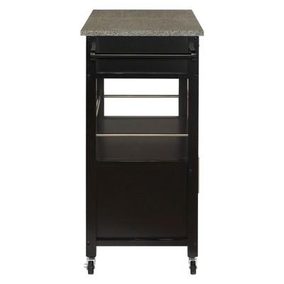 Cameron Granite Top Kitchen Cart Wood/Black   Linon : Target