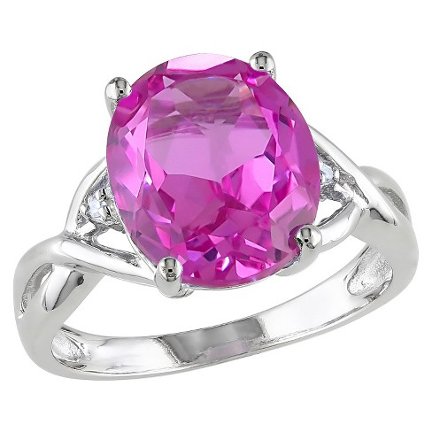 7.49 CT. T.W. Simulated Pink Sapphire and .01 CT. T.W. Diamond 3-Prong Set Ring in Sterling Silver (I3) - image 1 of 3