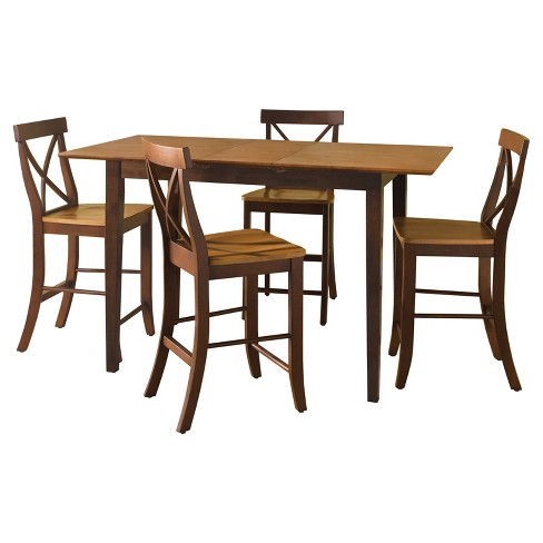 Gathering Table with 4 X - Back Stools - Cinnamon/Espresso - International Concepts - image 1 of 4