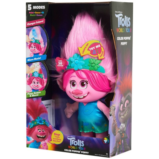 Trolls World Tour Color Poppin' Poppy Plush Fashion Doll image number null