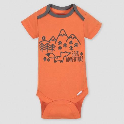 16ad31511 Gerber Baby Boys' 5pk Short Sleeve Onesies Bodysuit Explorer - Gray/Orange  : Target