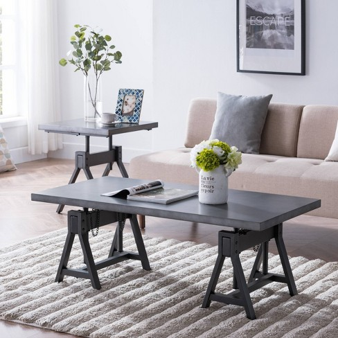 Sinclair Industrial Adjustable Height Coffee Table Gray - Aiden Lane - image 1 of 4