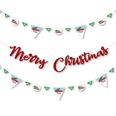 Big Dot of Happiness Merry Little Christmas Tree - Christmas Party Letter Banner Decoration - 36 Banner Cutouts and Merry Christmas Banner Letters