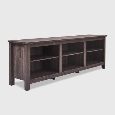 "70"" Wooden 6 Shelf TV Stand - Click Decor"