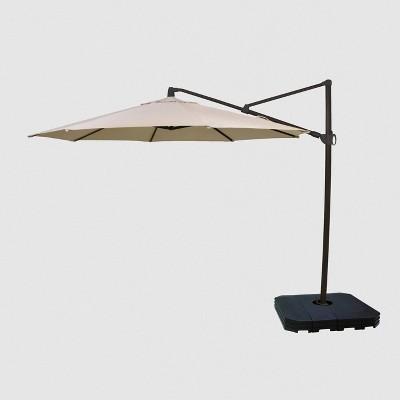 11' Offset Patio Umbrella Tan - Black Pole - Threshold™