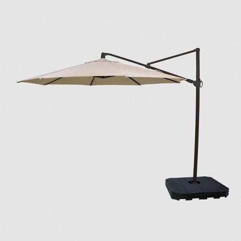 11 Offset Patio Umbrella Tan Black