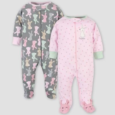 Gerber Baby Girls' 2pk Organic Cotton Bunny Sleep N' Play - Pink/Gray 0-3M