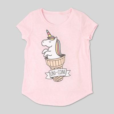 L.O.L. Vintage  Girls'  Unicorn Graphic Short Sleeve T-Shirt - Light Pink