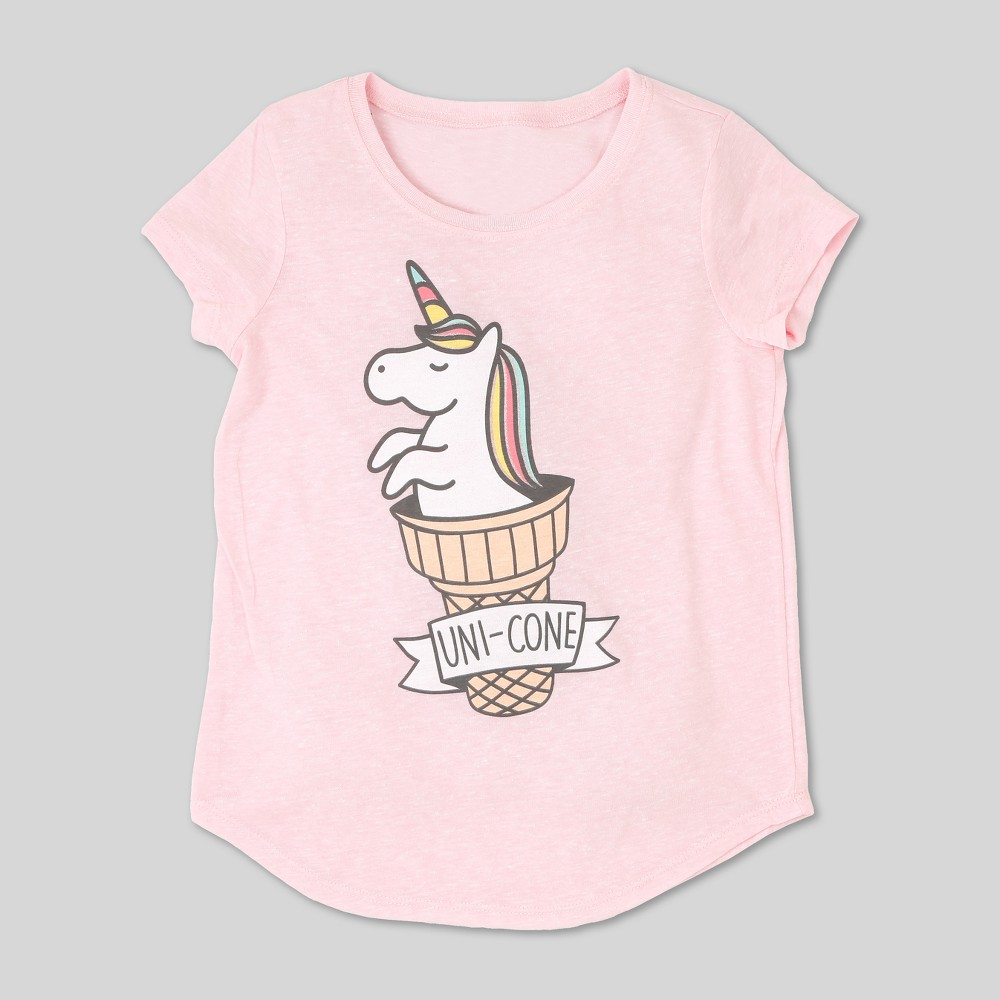 Image of petiteL.O.L. Vintage Girls' Unicorn Graphic Short Sleeve T-Shirt - Light Pink L, Girl's, Size: Large