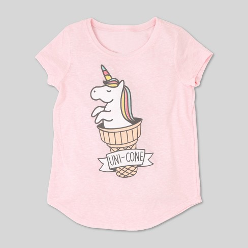 5334e82e36205b L.O.L. Vintage Girls  Unicorn Graphic Short Sleeve T-Shirt - Light Pink