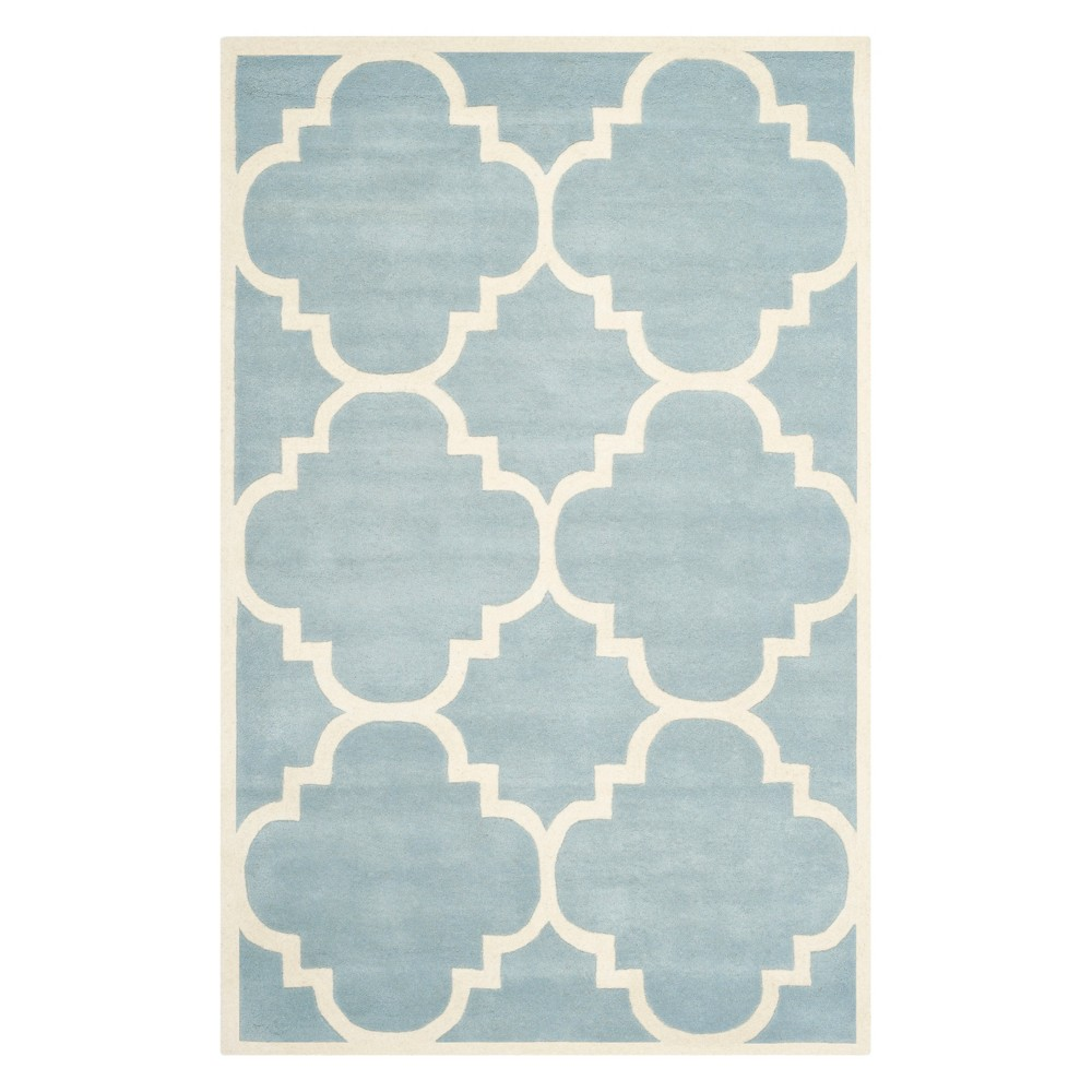 5'X8' Quatrefoil Design Tufted Area Rug Blue/Ivory - Safavieh
