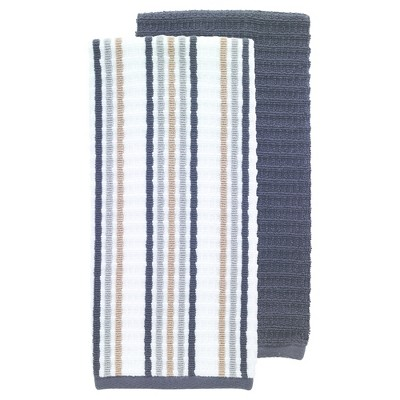 2pk Solid & Striped Waffle Terry Kitchen Towels Black - T-Fal
