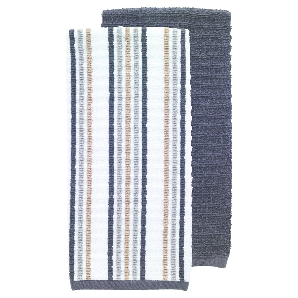 "Image of ""2pk Black Solid & Stripe Waffle Terry Kitchen Towel (16""""x28"""") - T-Fal"""