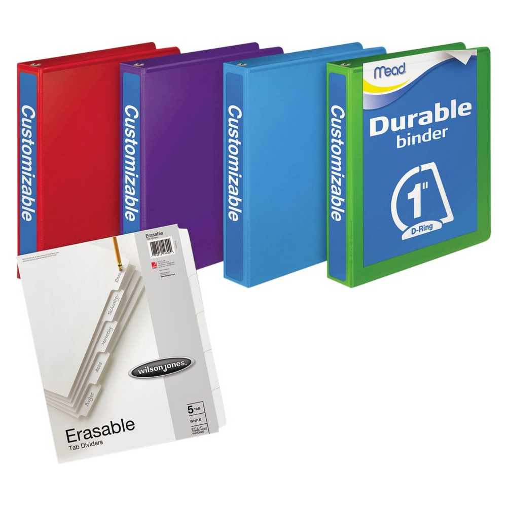 "Image of ""Mead 4pk 250 Sheet 1"""" Durable D-Ring Binders"""
