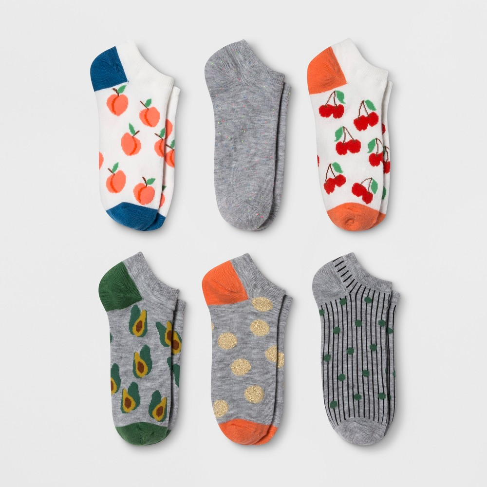Women's 6pk Mixed Fruit Low Cut Socks - Xhilaration Colors May Vary One Size, Assorted Gray