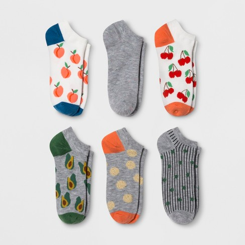 Women's Mixed Fruit 6pk Low Cut Socks - Xhilaration™ Colors May Vary One Size - image 1 of 1