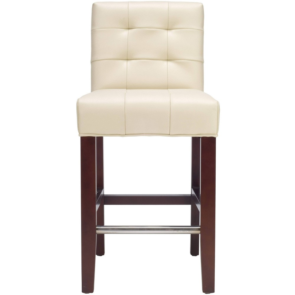 """Image of """"23"""""""" Thompson Tufted Leather CounterStool - Cream - Safavieh, Ivory Leather"""""""