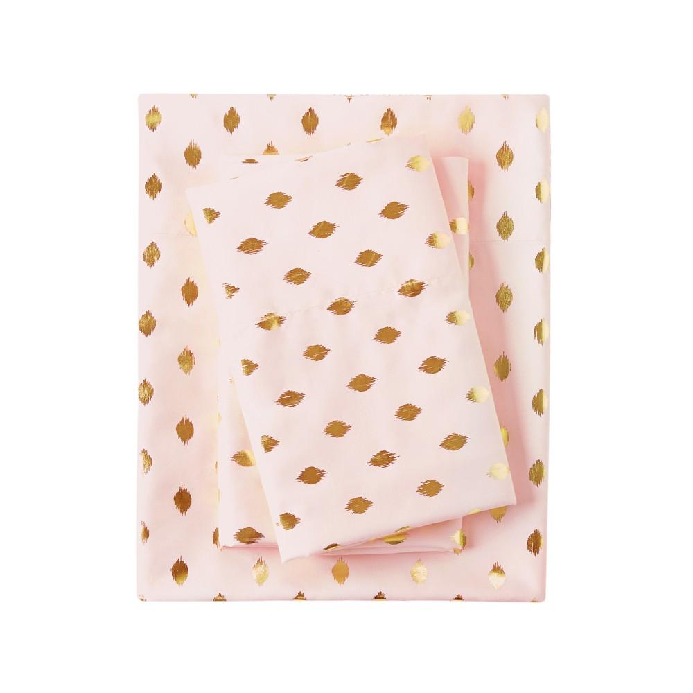 Full Metallic Dot Printed Sheet Set Blush/Gold