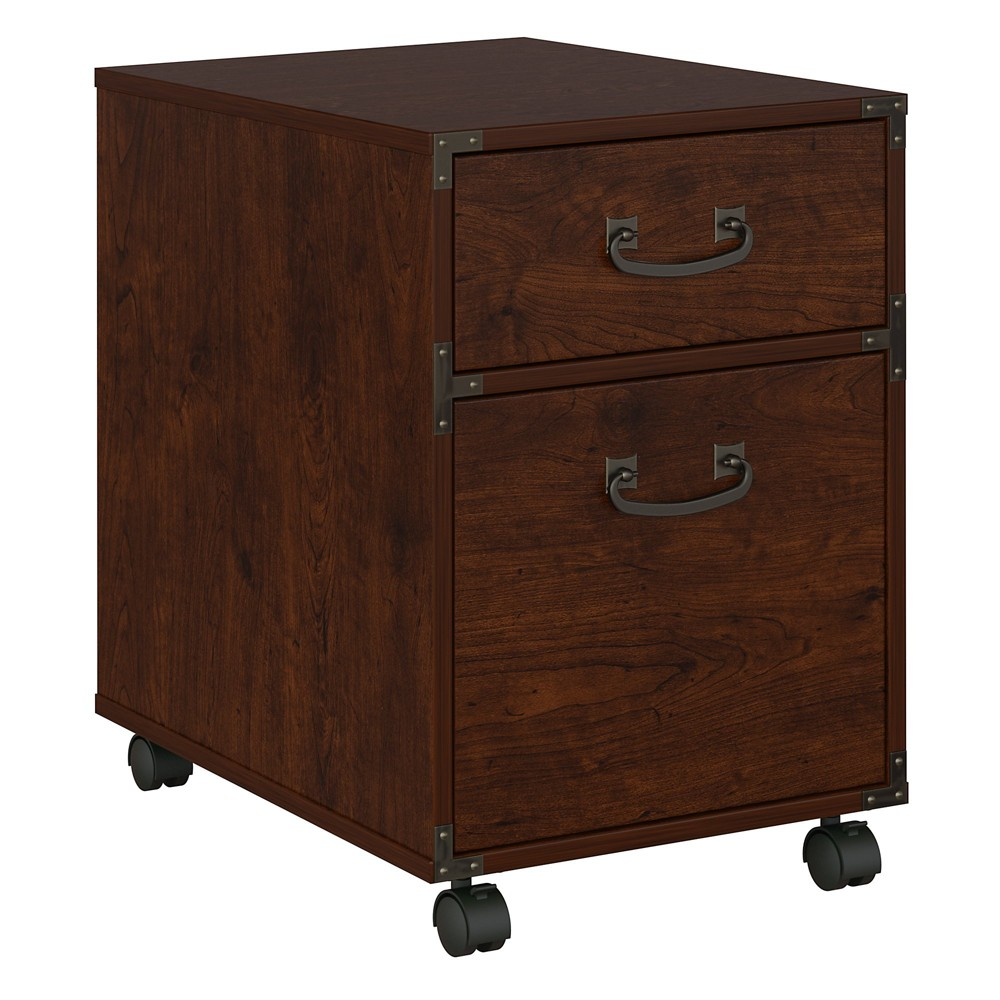"Image of ""45.12"""" Kathy Ireland Office Ironworks 2 Drawer Mobile Pedestal Cherry - Bush Furniture, Red"""