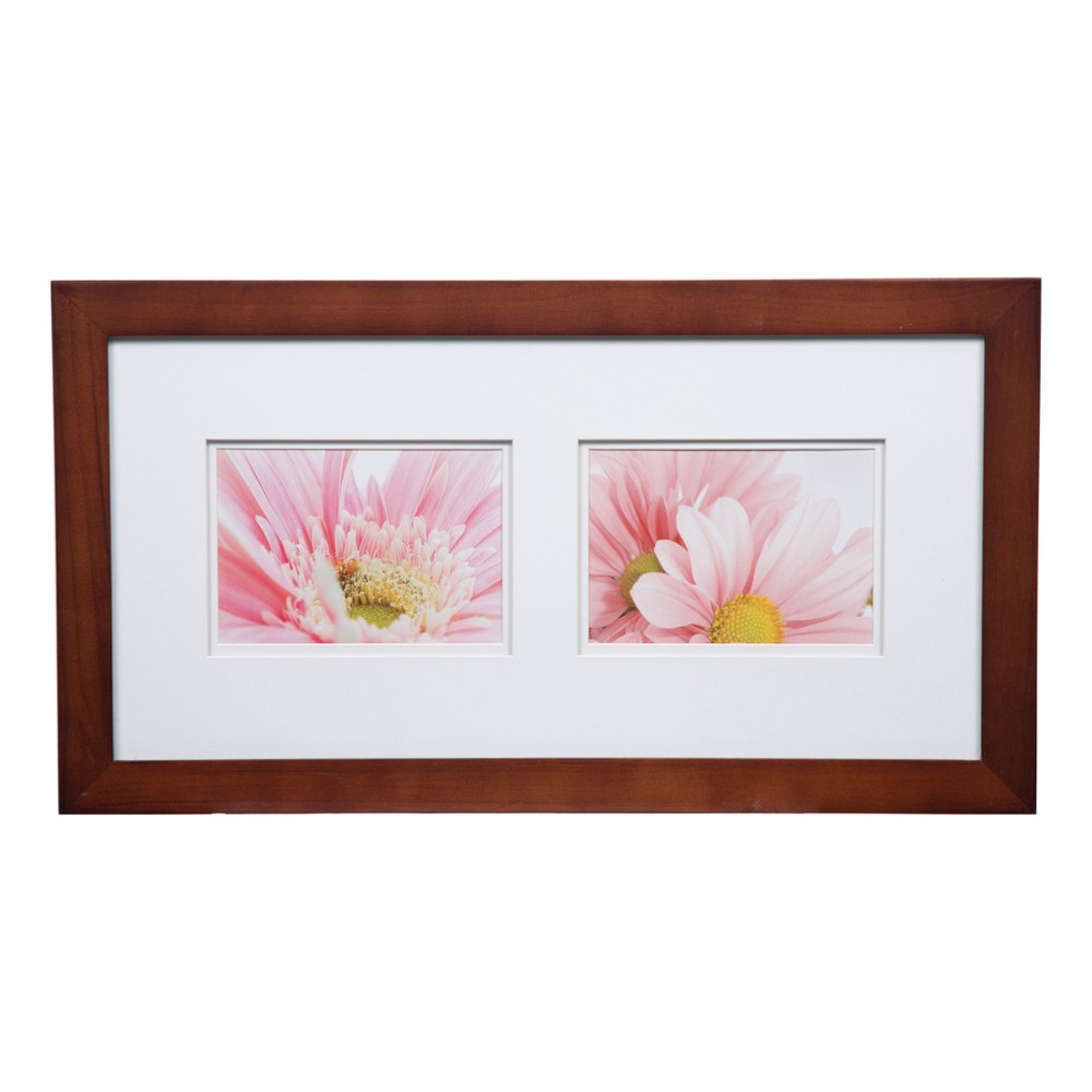 Image of Multiple Image 10X20 Wide Walnut (Brown) Whitedouble Mat To 2-5X7 Frame - Gallery Solutions