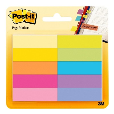 """Post-it 10pk 1/2""""x2"""" Page Markers Assorted Bright Colors"""
