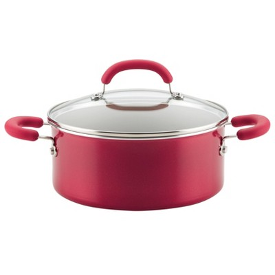 Rachael Ray Create Delicious 5qt Aluminum Nonstick Dutch Oven with Lid Red
