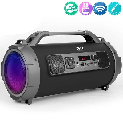 Pyle PBMKRG155 Wireless MP3 WMA WAV Bluetooth Portable Flashing Lights Boombox Rechargeable Speaker System with Aux Cable and USB Charging Cable