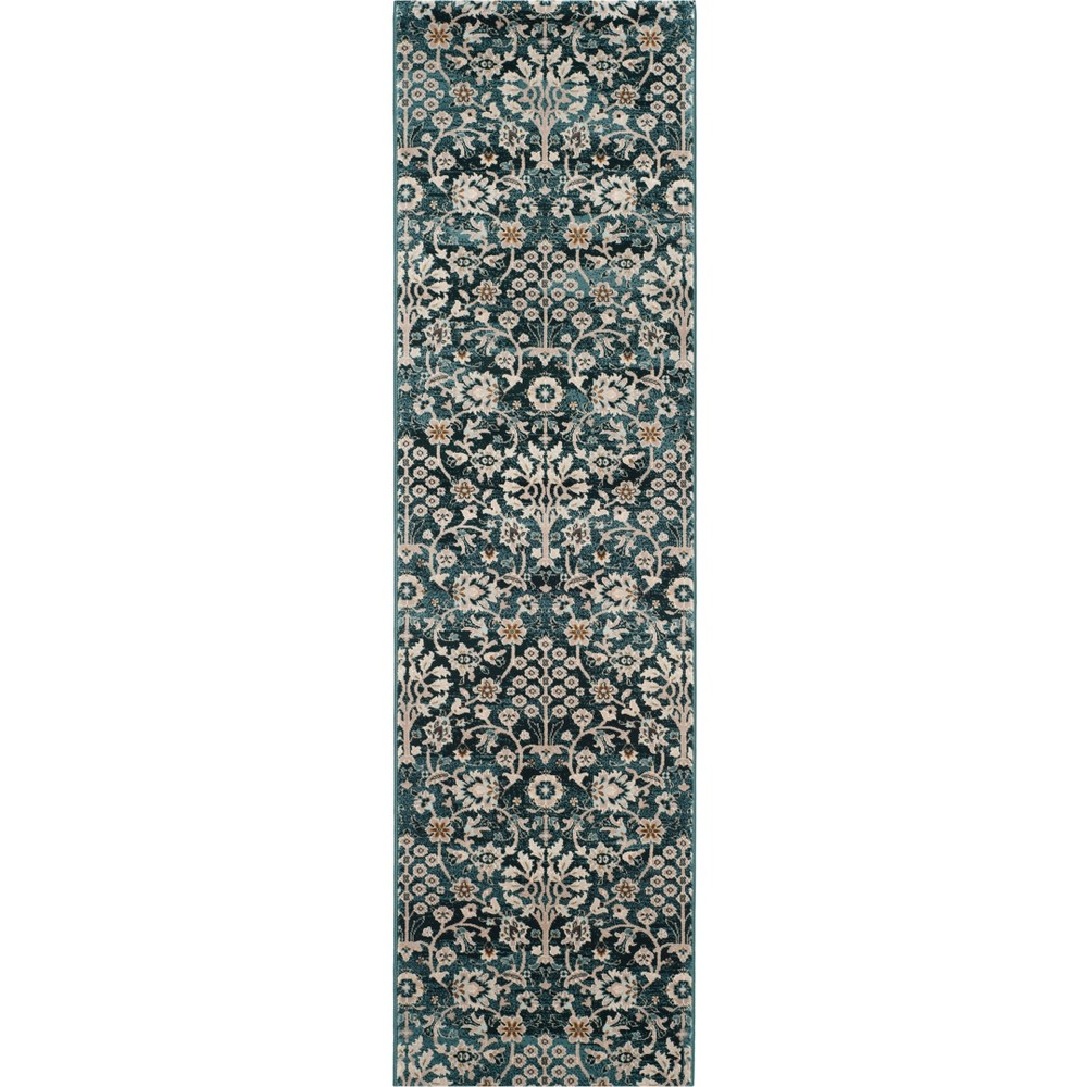 2'3X6' Floral Loomed Runner Turquoise/Cream (Turquoise/Ivory) - Safavieh