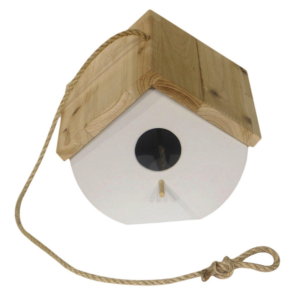 6.9 Ceramic Birdhouse with Wood Cover - White - Threshold, Light Off-White