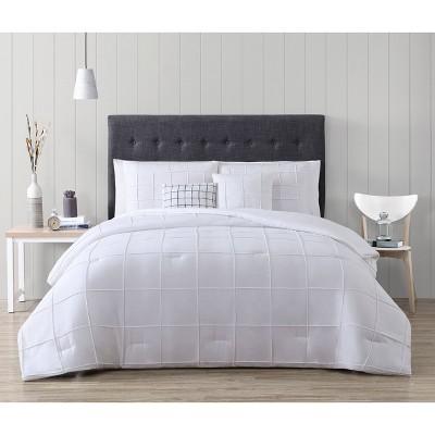 Queen 5pc Box Pinch Pleat Comforter Set White - Geneva Home Fashion
