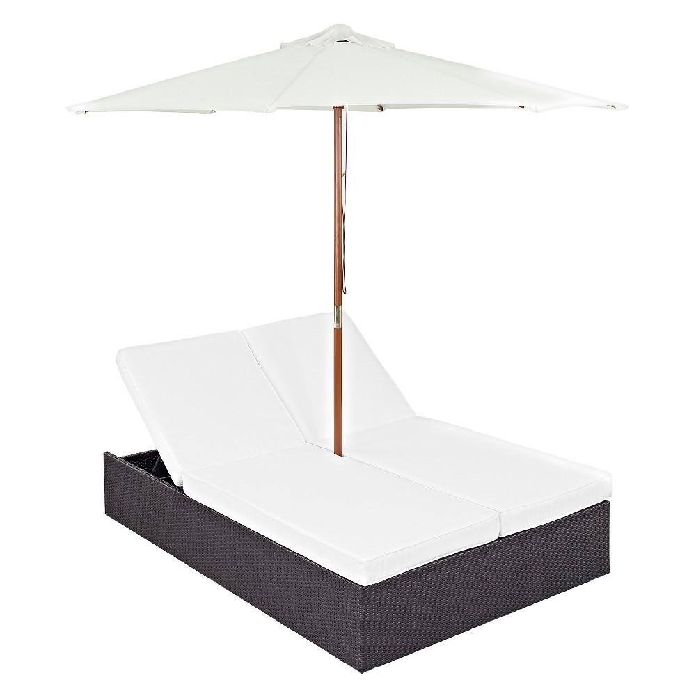 Convene 2pc All-Weather Wicker Double Patio Chaise w/Umbrella - Espresso White - Modway