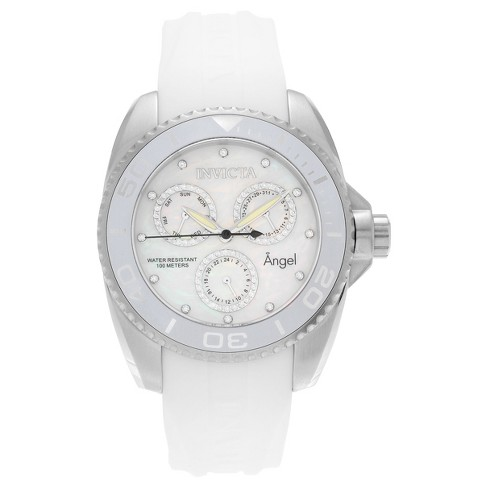Women's Invicta 21701 Angel Stainless Steel CZ Silicone Strap Watch - White - image 1 of 3