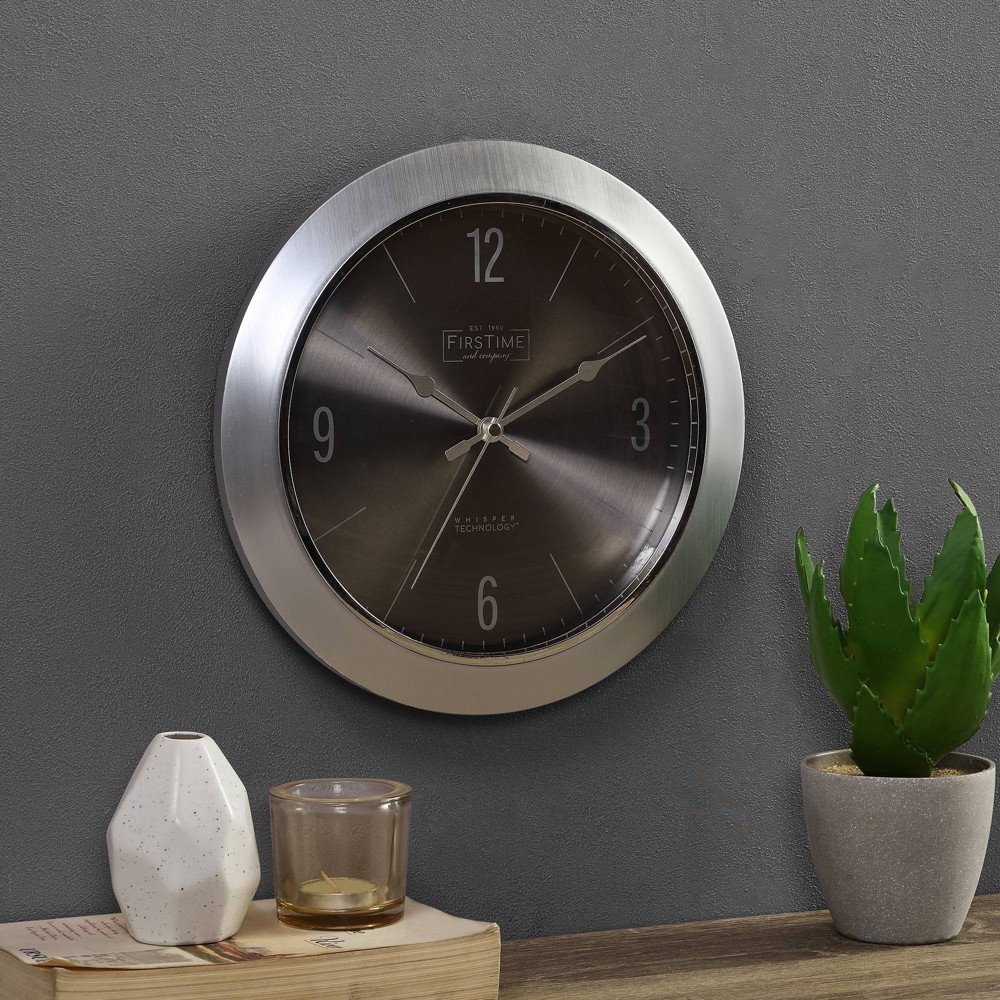 11 34 Steel Core Wall Clock Bullet Silver Firstime