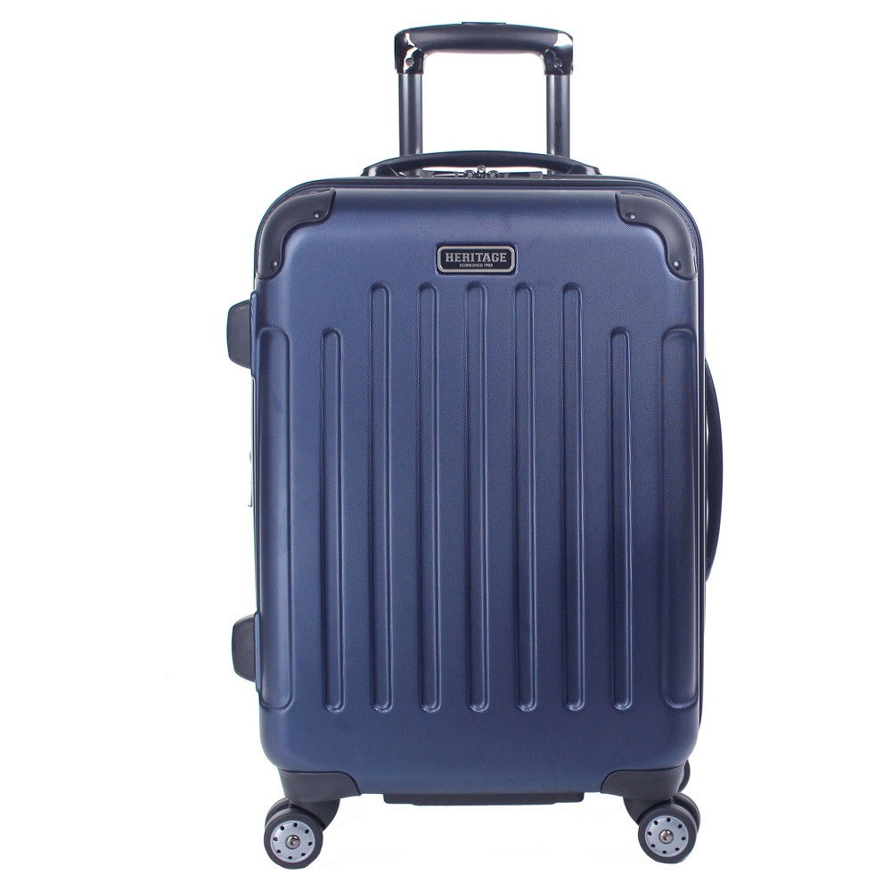 "Image of ""Heritage Logan Square 20"""" Polycarbonate & ABS Blend Lightweight Expandable Carry On Suitcase - Navy Blue"""